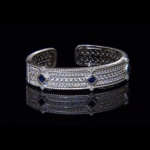 Blue Sapphire and Diamonique Hinged Cuff Bracelet